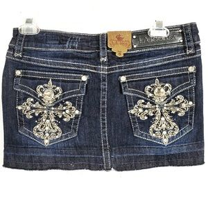 L.A. Idol Bling Sparkle Mini Jean Skirt Medium 31